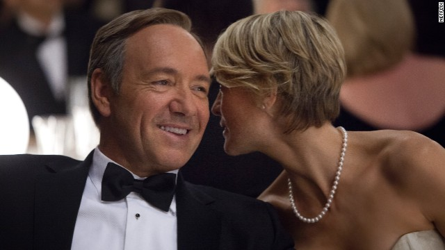 "Kevin Spacey and Robin Wright star in ""House of Cards."" The show is up for nine Emmys, including best drama."