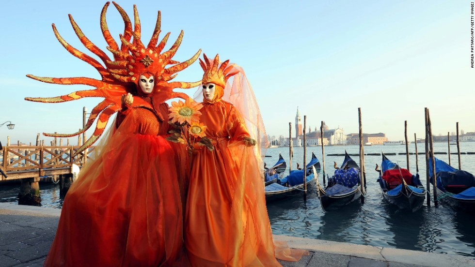 The Venice Carnival is famous for the elaborate masks worn by the city's revelers. The festival, which supposedly has its origins in the 12th century, attracts nearly 3 million visitors each year.