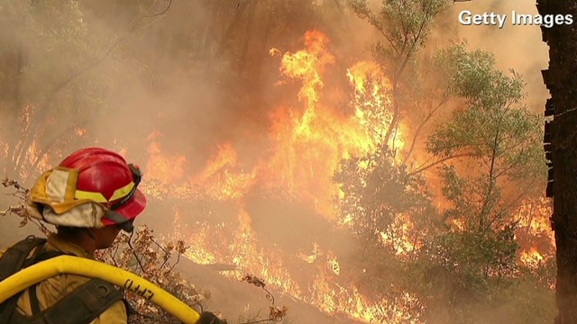 Wildfire almost doubles in size in a day