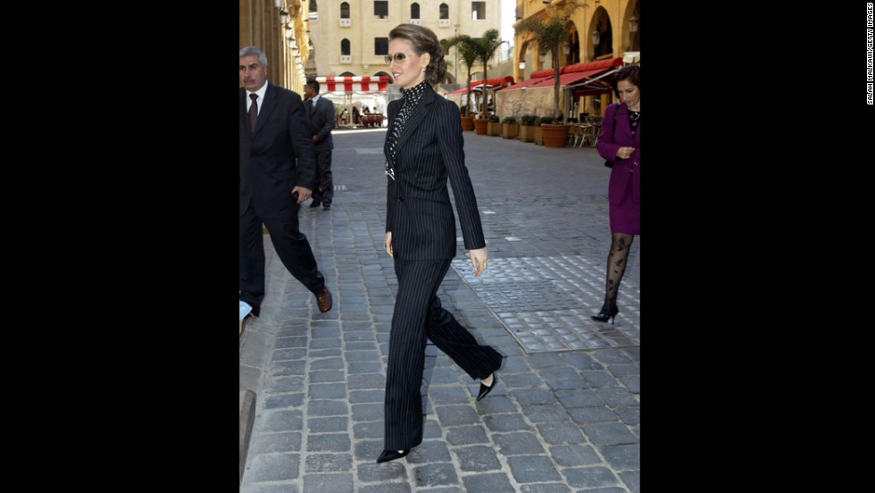 The first lady walks in downtown Beirut, Lebanon, on March 8, 2004.