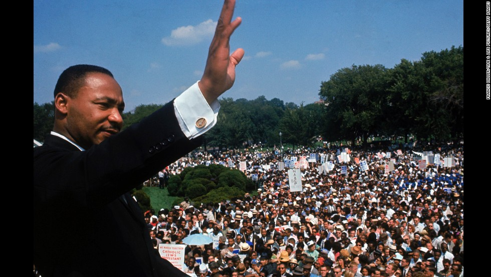 "King addresses a crowd of demonstrators outside the Lincoln Memorial during the March on Washington for Jobs and Freedom in Washington on August 28, 1963. He delivered his famous ""I Have a Dream"" speech to more than 250,000 people."