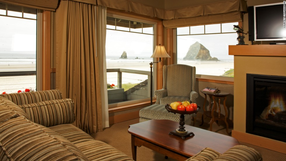 This is a shingled sanctuary overlooking Haystack Rock. All 41 rooms are equipped with fireplaces and private balconies.