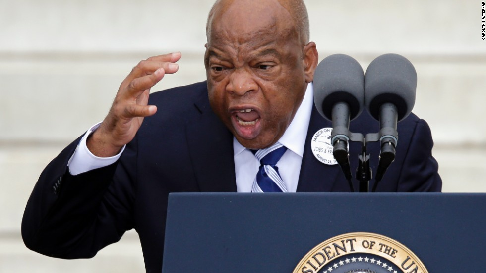 "Rep. John Lewis of Georgia speaks during the ceremony, celebrating the 50 year anniversary of when Martin Luther King Jr. delivered his ""I Have a Dream"" speech."