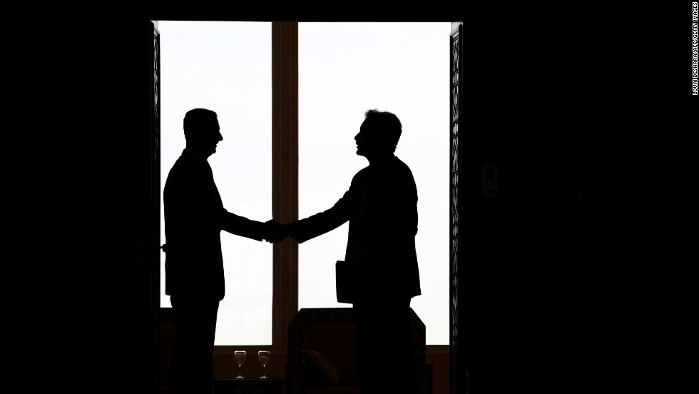 Al-Assad shakes hands with U.S. Under Secretary for Political Affairs William Burns in Damascus on February 17, 2010.  Burns met the Syrian leader a day after Washington named its first ambassador to Damascus in five years.