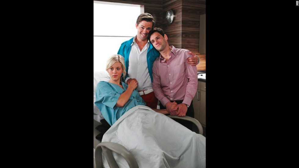 'The New Normal': Andrew Rannells and Justin Bartha as Bryan Collins and David Sawyer, a couple having a child via surrogate mother Goldie Clemmons, played by Georgia King.
