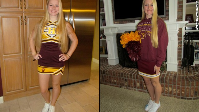 Countryside High School Varsity cheerleader Jeana Fraser is pictured in her cheerleading outfit. School leaders say the uniforms just aren't appropriate for classrooms and don't fit into student dress codes.