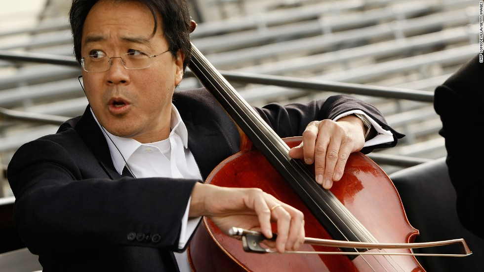 "Cellist Yo-Yo Ma, seen here rehearsing for the presidential inauguration in 2009, began <a href=""http://www.yo-yoma.com/yo-yo-ma-biography"" target=""_blank"">studying the cello with his dad when he was 4</a>."