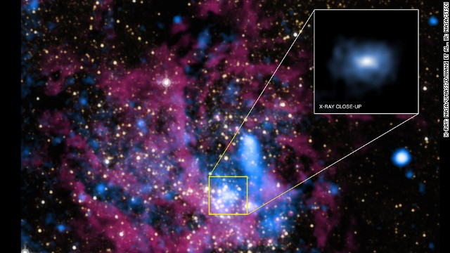 This image shows the X-Ray close-up of Sagittarius A*, the Milky Way's central black hole.