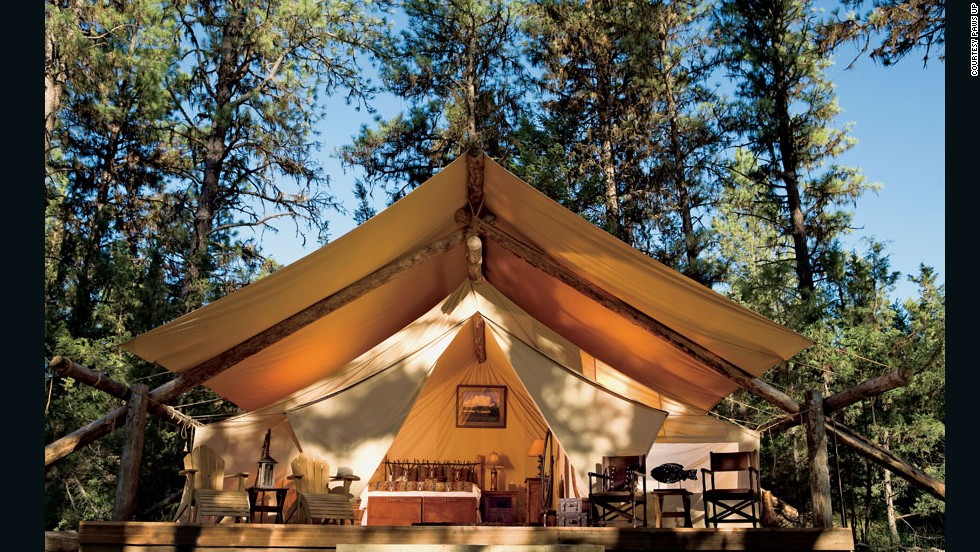"You'll feel as if you've stepped into a movie set when you take in the views from luxury tents on the banks of the Blackfoot River in Montana. These safari-style retreats have electricity, fine art and modern amenities. Fall rates at the <a href=""http://www.pawsup.com "" target=""_blank"">Paws Up River Camp</a> start at $839 per person, per night, inclusive of all meals and transportation from the airport. The spa menu includes a Moose Drool massage and a Montana Gold Rush massage."