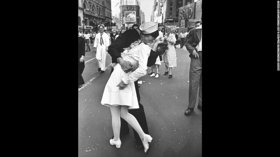 "Alfred Eisenstaedt's photograph of an American sailor kissing a woman in Times Square became a symbol of the excitement and joy at the end of World War II. The Life photographer didn't get their names, and several people have claimed to be the kissers over the years.<a href=""http://www.usni.org/store/books/aircraft-reference/american-fighters/kissing-sailor"" target=""_blank""> A book released last year</a> identifies the pair as George Mendonsa and Greta Zimmer Friedman. ""Suddenly, I was grabbed by a sailor,"" <a href=""http://lcweb2.loc.gov/diglib/vhp/story/loc.natlib.afc2001001.42863/transcript?ID=sr0001"" target=""_blank"">Friedman said in 2005</a>. ""It wasn't that much of a kiss. It was more of a jubilant act that he didn't have to go back (to war)."""