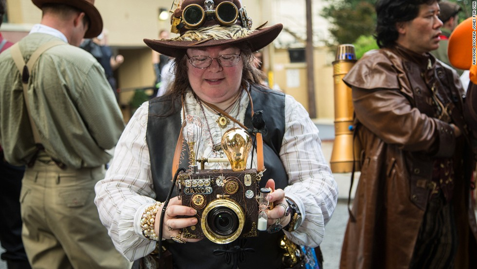 Janet Sella of Naples, Florida, dresses as a steampunk photographer.