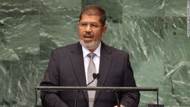 Mohamed Morsy addresses the U.N. General Assembly on September 26, 2012.
