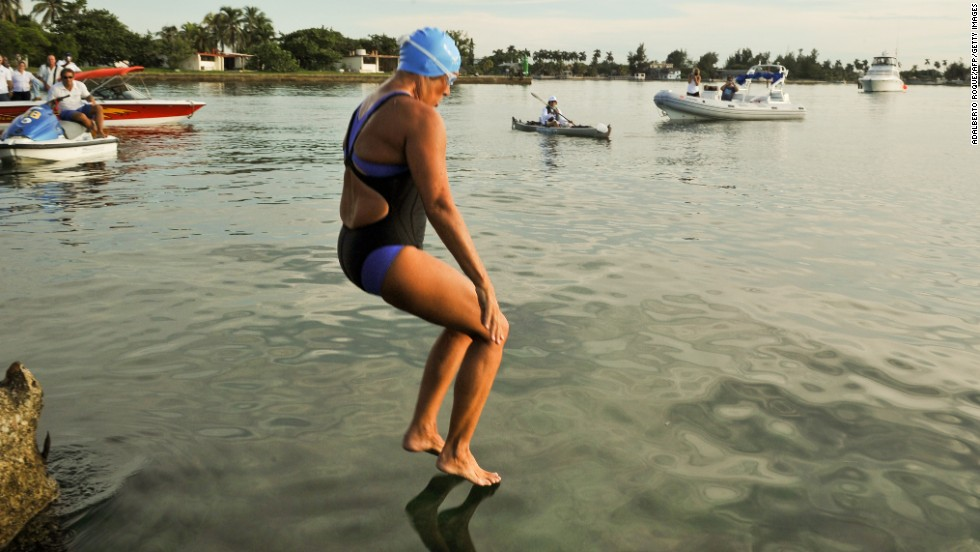Nyad jumps into the ocean at the Ernest Hemingway Nautical Club in Havana in September 2011. She was making her third attempt.