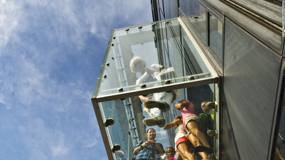 Visitors who step into one of the Ledge boxes at the Willis Tower in Chicago can see for 50 miles across four states. A protective coating on the glass cracked on Wednesday, May 28, but officials say visitors were never in danger. Click through this gallery to see more daring viewing platforms around the world: