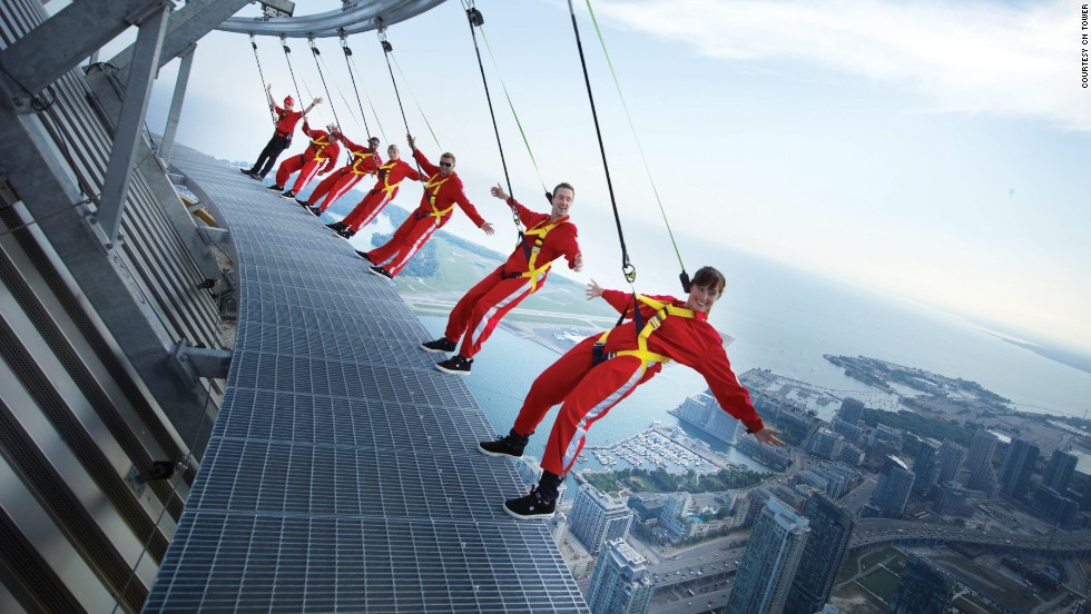 Located on the roof of the CN Tower's restaurant at a height of 1,168 feet (356 meters), the EdgeWalk in Toronto allows visitors to slip into climbing harnesses and walk around the edge of Canada's tallest structure. There's also a glass floor 1,122 feet (342 meters) above ground level.