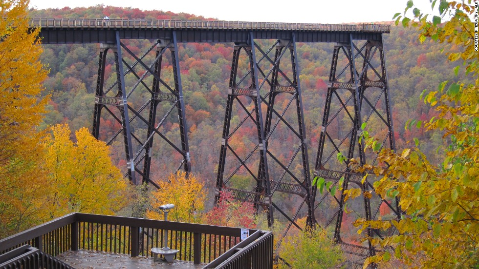 The Skywalk extends 624 feet (190 meters) into the Kinzua Gorge. Glass panels allow visitors to peer into the gorge below.