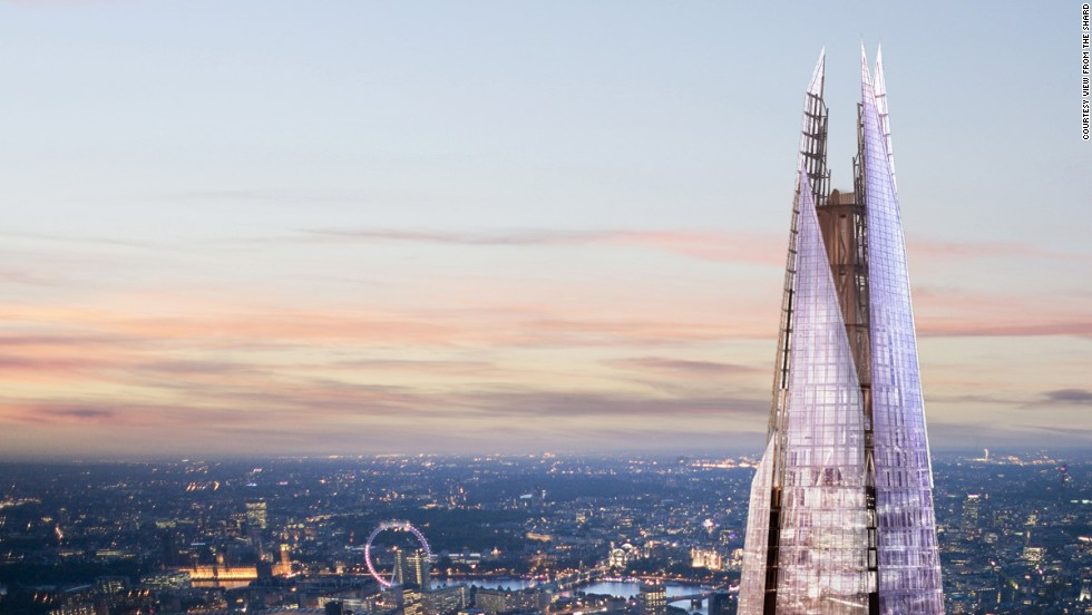 The Shard in London is the tallest building in Western Europe. The View From The Shard is located on floors 68, 69 and 72. The best panoramas are from floor 72, at a height of 800 feet (244 meters). This open-air observation deck offers 360-degree views of the city.