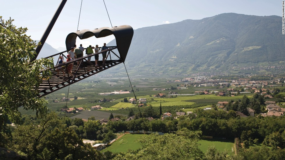 The best views of Merano, Italy, are from this binocular-shaped viewing platform, high above a huge oak forest and the gardens of Trauttmansdorff Castle. The viewing platform is just one of several within the gardens.