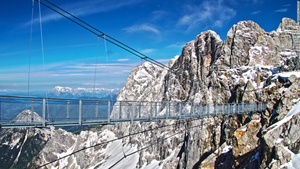 Visitors to the Dachstein Stairway to Nothingness must first cross Austria's highest bridge, which is 328 feet (100 meters) long and straddles a drop of 1,300 feet (396 meters). Then they face 14 steps that descend from the cliff face surrounded by glass walls.