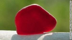 Red sea glass is rare, Christeena Hockin-Minopetros says.