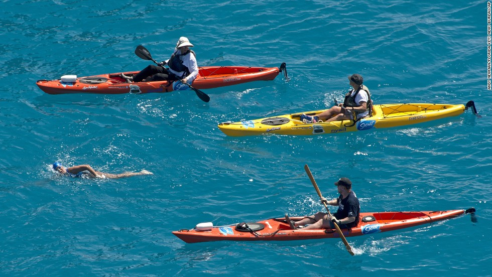 Nyad is escorted by kayakers two miles off the coast of Key West, Florida, on Monday, September 2.