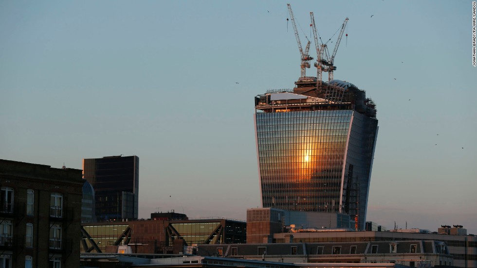 "Once completed, the ""Walkie Talkie"" building will have about 33,000 square meters of glass."