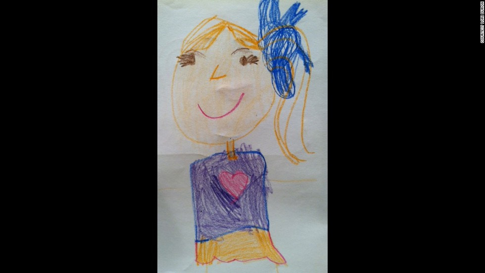 """C.J. is a boy, but usually draws himself as a girl, as he did in this self-portrait. Around this time, he drew himself as a boy at school for the first time, which surprised his parents. """"He did it to adapt and conform. He did it to hide his true self,"""" Duron wrote on her blog, <a href=""""http://raisingmyrainbow.com/2012/09/19/my-son-draws-himself-as-a-girl/"""" target=""""_blank"""">RaisingMyRainbow.com</a>. """"It felt like he had lost some of his innocence."""""""