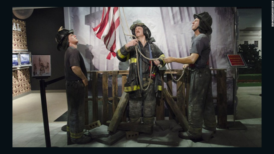 "Wax figures of the firefighters are displayed during the ""HOPE: Humanity And Heroism"" exhibition at Madame Tussauds in Washington on May 10, 2013."
