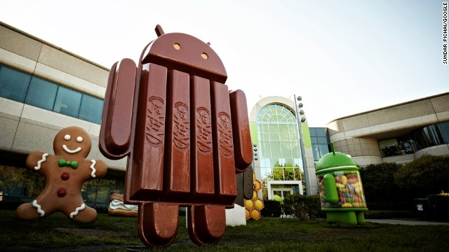 A statue at Google's headquarters in Mountain View, California, shows the Android mascot seemingly rendered in KitKat bars.
