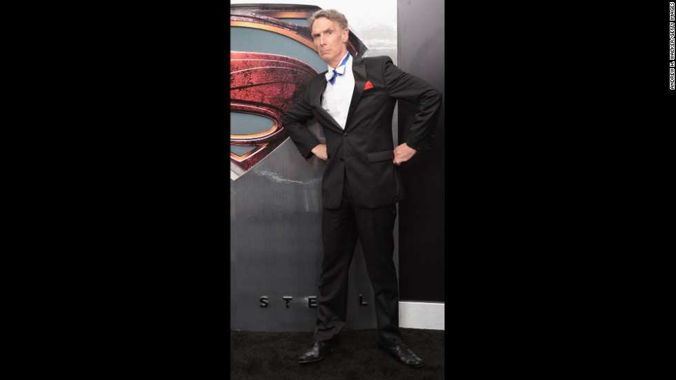 "Scientist Bill Nye attended the ""Man Of Steel"" world premiere in New York City in June. He is known as ""The Science Guy."""
