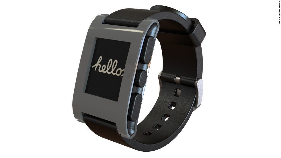 The Pebble Watch, which many consider the first commercial smartwatch, first gained attention by pulling in more than $10 million through crowdfunding on Kickstarter. Pebble connects to an iPhone or Android via Bluetooth and has a growing slate of its own apps.