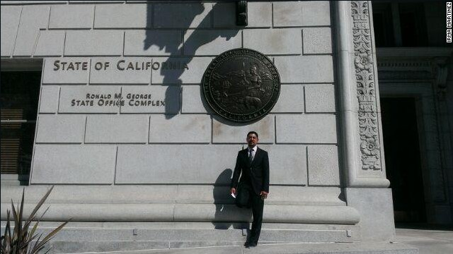 Sergio Garcia poses in front of the California Supreme Court building on Wednesday.