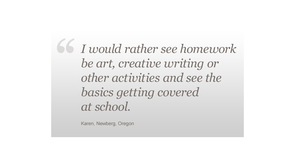 Homework Karen (Newberg, OR) quote