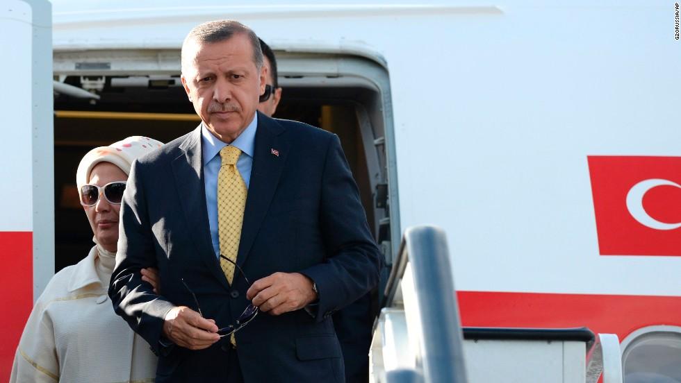 Turkish Prime Minister Recep Tayyip Erdogan arrives in St. Petersburg on September 4.