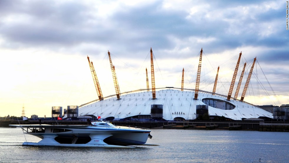 The high-tech vessel (seen here sailing past London's O2 arena) had been examining water and air samples as part its research into climate change.