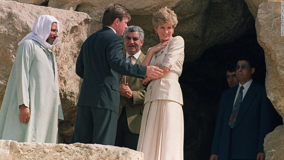 Princess Diana visits the great pyramid of Giza in Egypt on May 12, 1992.