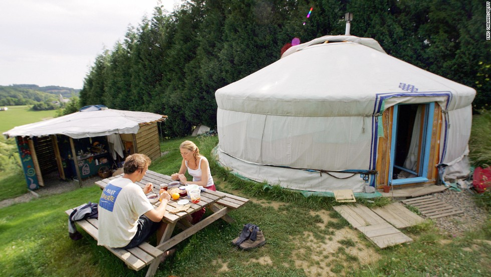 """So, babe, how do you like camping in this yurt?"" ""Jim, I want a divorce."""