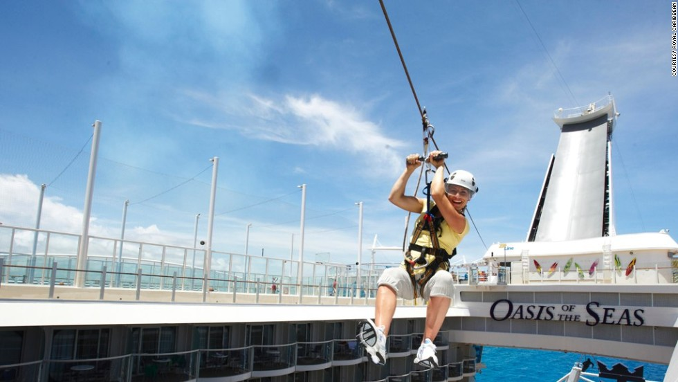 "The <em>Oasis of the Seas</em> has 25 restaurants, 2,394 crew members and seven themed ""neighborhoods."" Its zip line is suspended nine decks high and runs 82 feet across the ship's open-air atrium."