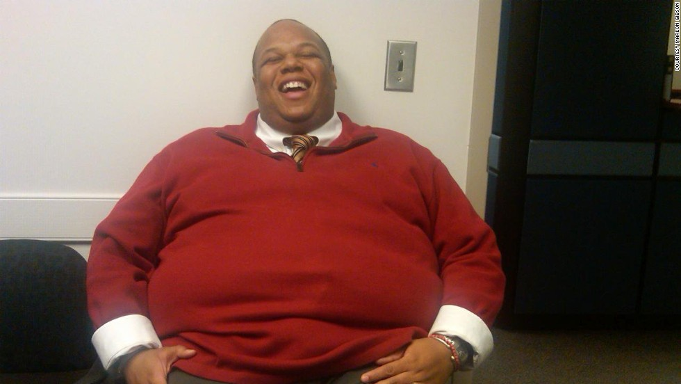"At the beginning of 2011, Marlon Gibson weighed 405 pounds.  He was sitting in a friend's office and said, ""You need to get bigger chairs."" ""Actually, I think you need to think about that,"" she said.  He says they laugh about it now, but it was painful at the time."