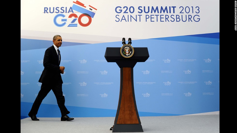 U.S. President Barack Obama arrives to give a press conference in St. Petersburg, Russia, on Friday, September 6. Although the summit's topic is the global economy, Syria's is overshadowing the conference.