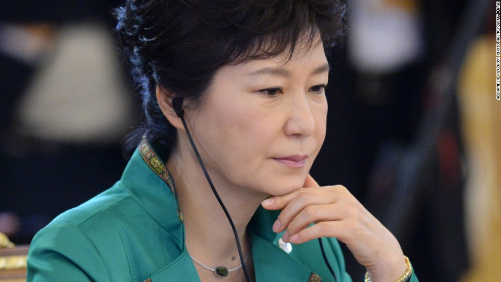 South Korean President Park Geun-hye attends a meeting on September 6.
