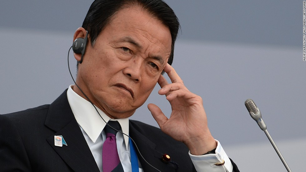 Japanese Finance Minister Taro Aso attends a meeting at the G-20 Summit on September 6.