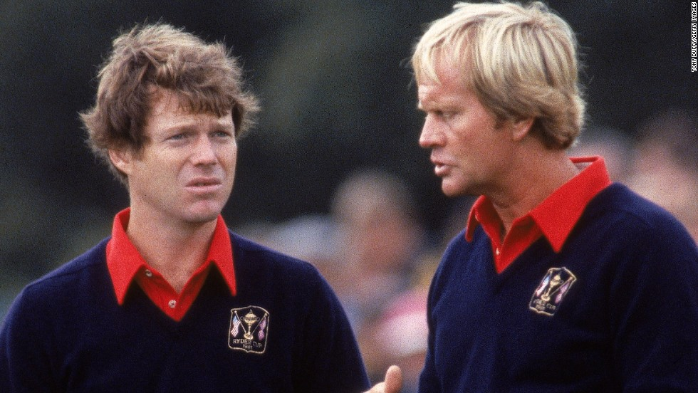 Legends paired: Watson and Jack Nicklaus share some time at the 1981 Ryder Cup at Walton Heath, which saw a crushing victory for a powerful United States team.