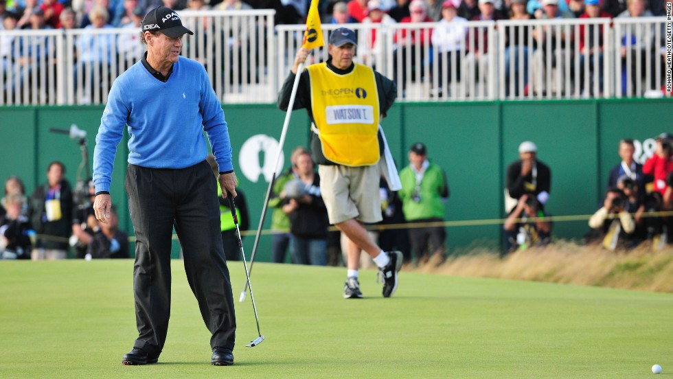 Watson's putt on the 18th green of the final round to win the 2009 British Open narrowly misses. Then 59, he eventually lost a playoff to Stewart Cink.