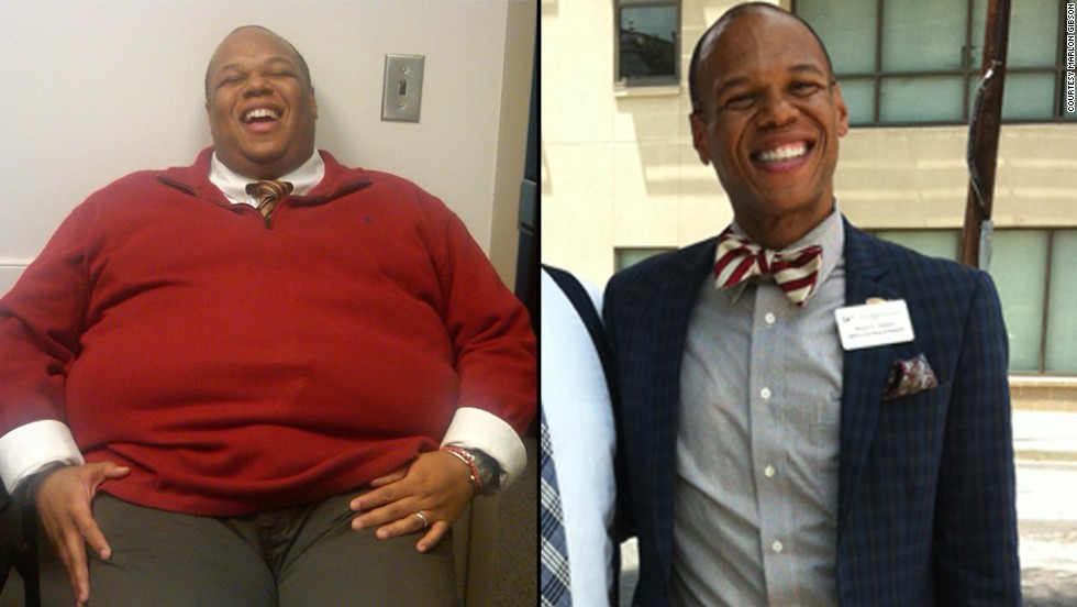 "Marlon Gibson went from 405 pounds to 160 pounds by <a href=""http://www.cnn.com/2013/09/09/health/weight-loss-marlon-gibson/index.html"">following the ""three P's.""</a> Now he does two 70-minute spinning class back-to-back without breaking (much of) a sweat."