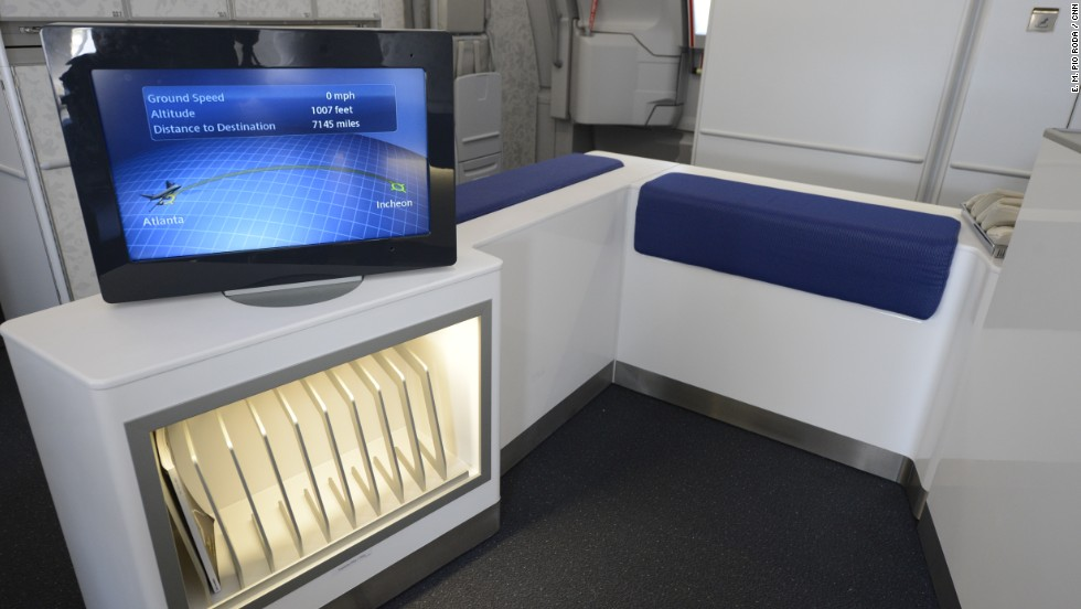 The Korean Airlines A380 boasts a lounge area that entices passengers to spread out and relax.