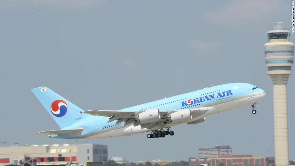 The A380 departs Friday on its return trip to Seoul. Korean Airlines offers this nonstop A380 route three times a week.