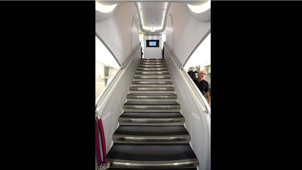 The A380 is the only airliner with double-decker floors from front to back. Passengers take this stairway near the front of the aircraft to the business class section on level two.
