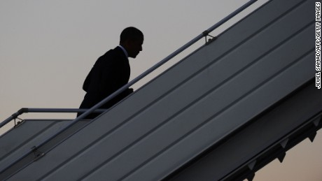 President Barack Obama boards Air Force One at Pulkovo International Airport in Saint Petersburg on September 6, 2013, leaving for Washington, DC, after attending the G20 summit. World leaders at the G20 summit on Friday failed to bridge their bitter divisions over US plans for military action against the Syrian regime, with Washington signalling that it has given up on securing Russia's support at the UN on the crisis. JEWEL SAMAD/AFP/Getty Images