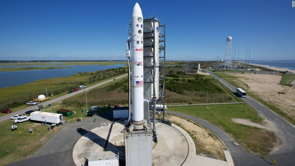 "A rocket carrying a NASA moon orbiter sits on the launch pad in Wallops Island, Virginia, on September 6. The Lunar Atmosphere and Dust Environment Explorer (LADEE) is designed to ""orbit the moon to gather detailed information about the lunar atmosphere, conditions near the surface and environmental influences on lunar dust,"" NASA said."